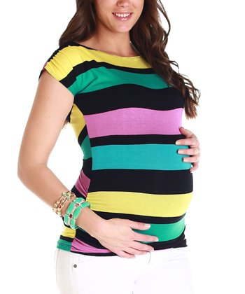 Black & Teal Stripe Maternity Top