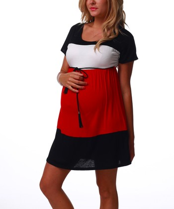 Red & Black Belted Maternity Dress