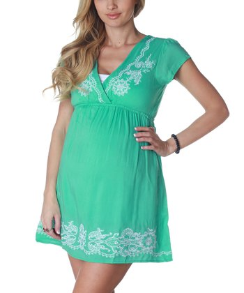 Mint Green Embroidered Maternity Dress