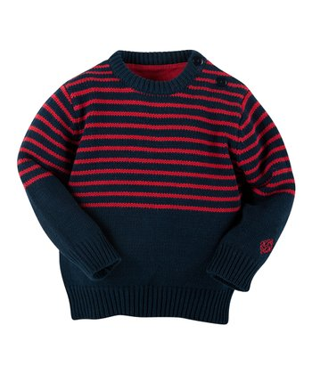 Navy & Red Stripe Sweater - Infant, Toddler & Boys