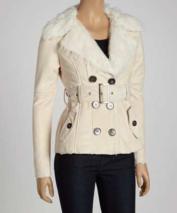 Bone & Cream Faux Fur Belted Jacket
