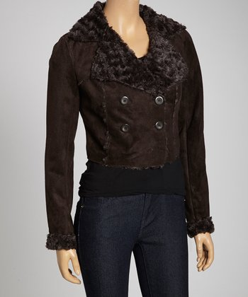 Dark Brown Faux Fur Button-Up Jacket