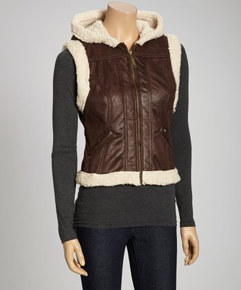Brown & Tan Faux Fur Zip-Up Hooded Vest