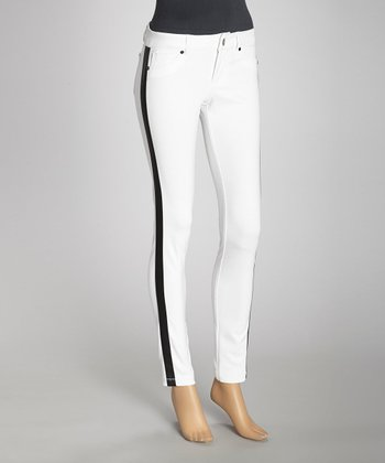White & Black Stripe Panel Ponte Jeggings