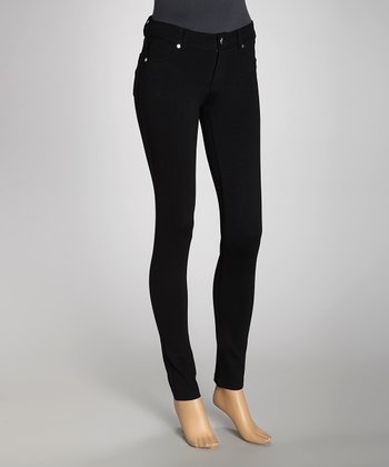 Black Jacquard Ponte Jeggings
