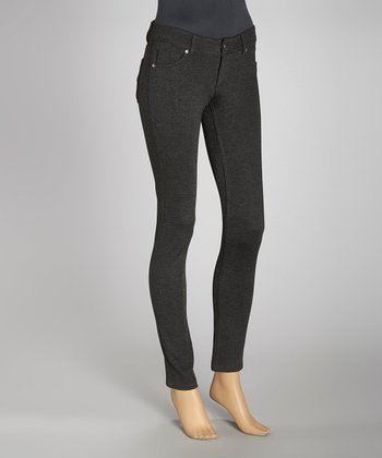 Charcoal Jacquard Ponte Jeggings