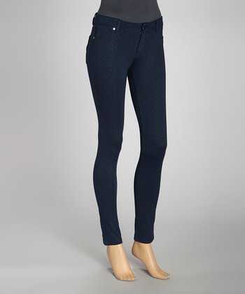 Navy Jacquard Ponte Jeggings