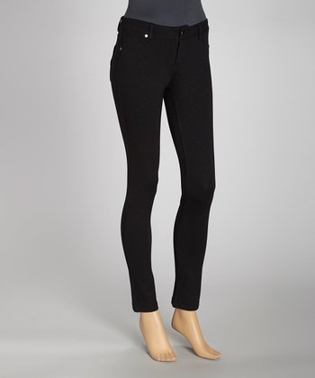 Black Jacquard Ponte Five-Pocket Jeggings