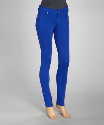 Royal Blue Jacquard Ponte Jeggings