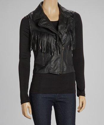 Black Asymmetrical Fringe Vest
