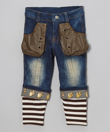 Blue Denim Dinosaur Ribbed-Cuff Jeans - Toddler & Boys