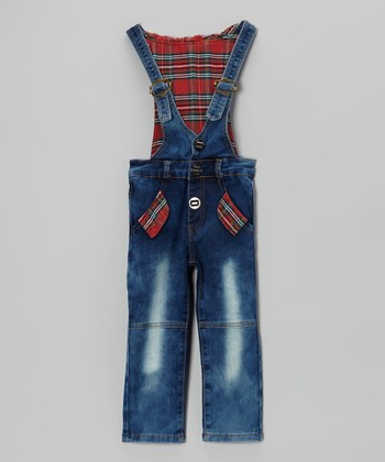 Blue Denim & Plaid Hooded Overalls - Infant, Toddler & Boys