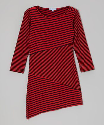 Red Stripe Dress - Girls