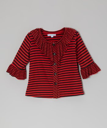 Red Stripe Ruffle Top - Toddler & Girls