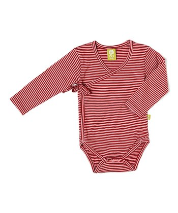Rose Stripe Wrap-Tie Organic Bodysuit - Infant
