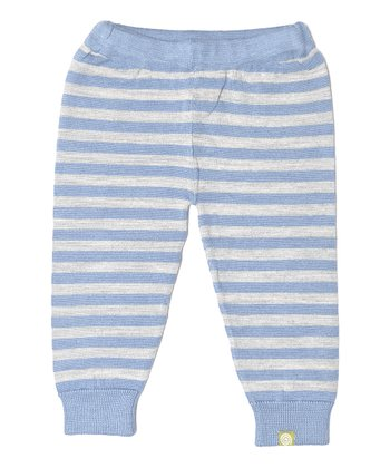 Silver & Blue Stripe Organic Wool-Silk Blend Leggings - Infant