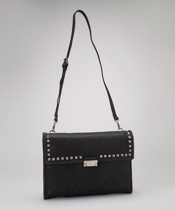 Black Studded Crossbody Clutch