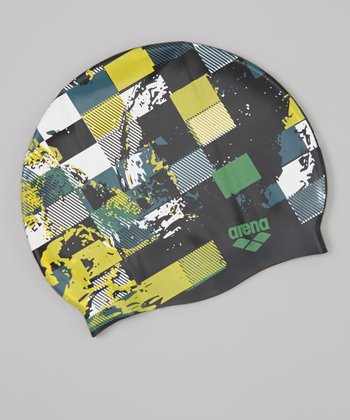 Black & Yellow Poolish Swim Cap - Adult