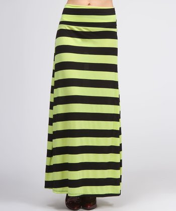 Green Stripe Maxi Skirt