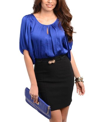 Royal Blue & Black Keyhole Dress