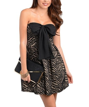 Black & Sand Zebra Bow Dress