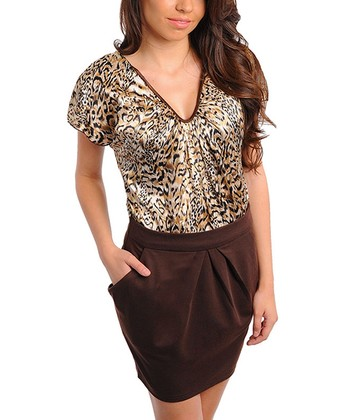 Brown Cheetah Pleated Dress