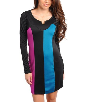 Black & Teal Vertical Dress