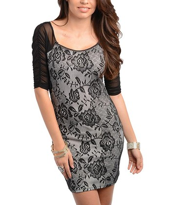 Black Lace-Print Dress