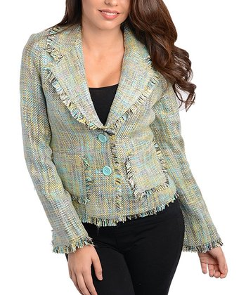 Mint Frayed Tweed Blazer