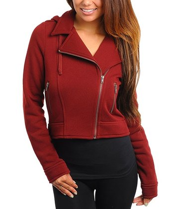 Burgundy Hooded Motorcycle Jacket