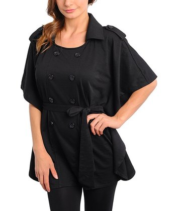Black Cape-Sleeve Jacket