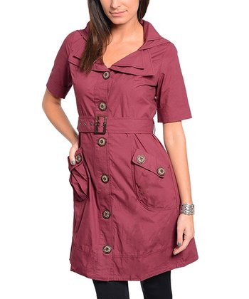 Burgundy Belted Trench Coat