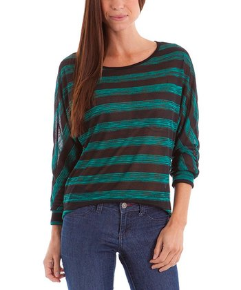 Green & Black Stripe Top