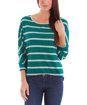 Green & Beige Stripe Top