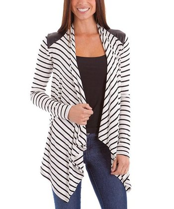 White & Black Stripe Open Cardigan