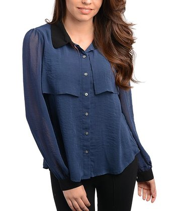 Navy & Black Sheer Button-Up