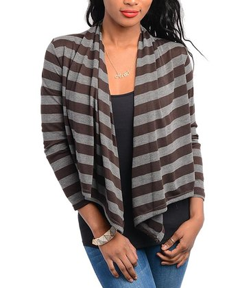 Brown & Gray Stripe Open Cardigan