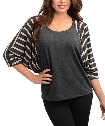 Charcoal Stripe Cape-Sleeve Top