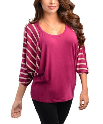 Berry Stripe Cape-Sleeve Top