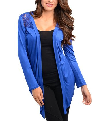Royal Blue Lace Open Cardigan