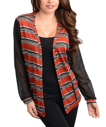 Black & Brick Stripe Open Cardigan