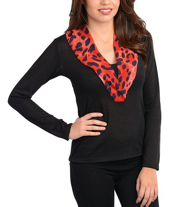 Black & Red Leopard-Trim Top