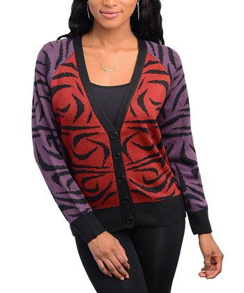 Burgundy & Purple Abstract Cardigan