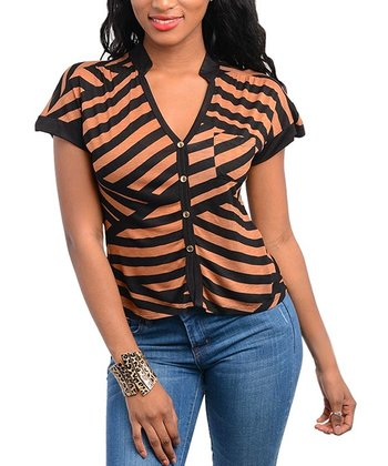 Mocha & Black Stripe V-Neck Top