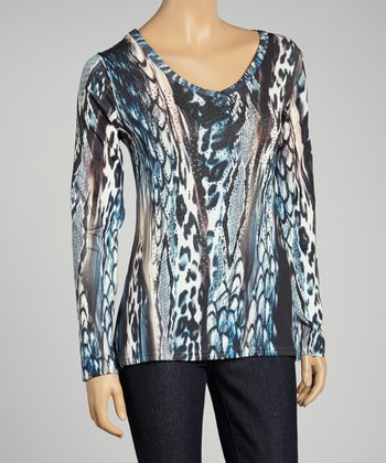Blue Animal Rhinestone Top