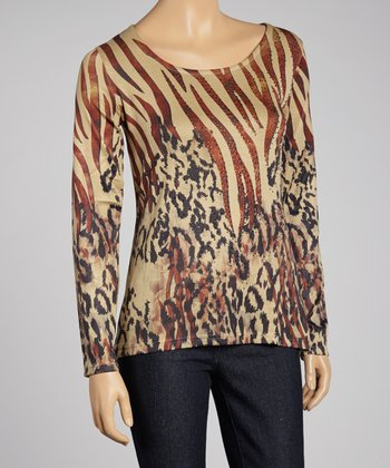 Beige Animal Rhinestone Top