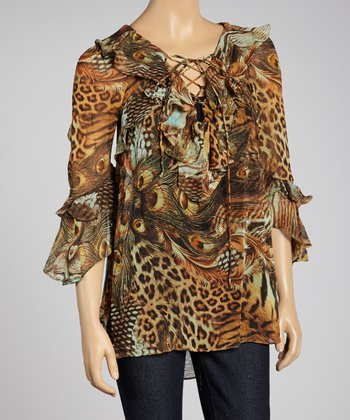 Gold Animal Peasant Top