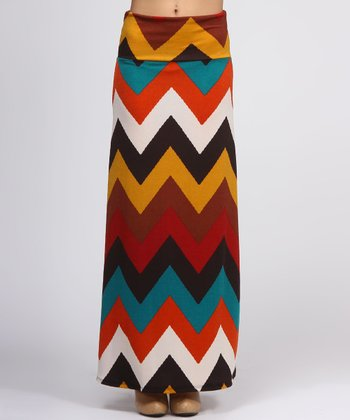 Brown Chevron Maxi Skirt