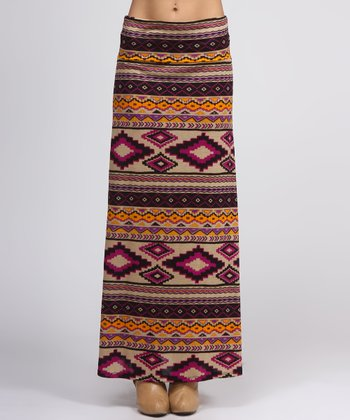 Fuchsia Tribal Maxi Skirt