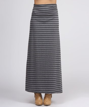 Black & Charcoal Stripe Maxi Skirt
